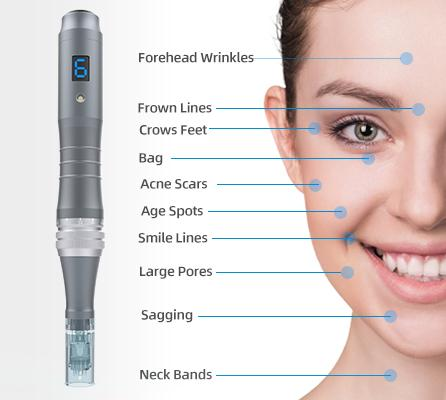 Electric 6 Speeds Micro Derma Pen with Digital Screen Display for Skin Care